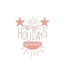 Summer Holidays Vintage Emblem With Stars vector image