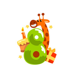 sweet funny giraffe and number eight happy vector image