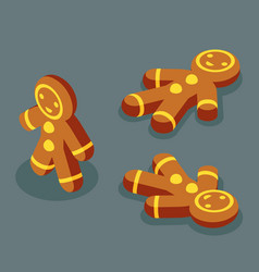 sweet gingerbread man winter isometric christmas vector image