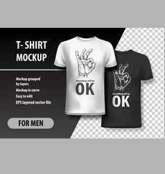 T-shirt template fully editable with ok gesture vector