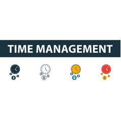 time management icon set four elements in vector image
