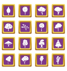 trees icons set purple vector image