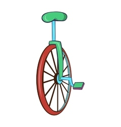 Unicycle or one wheel bicycle icon cartoon style vector