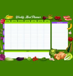 weekly meal planner food week plan diary vector image