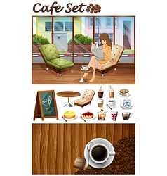 Woman hanging out in the cafe vector