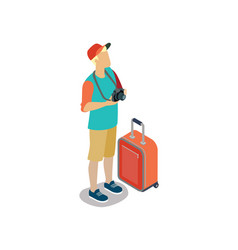 young tourist with camera and travel bag vector image