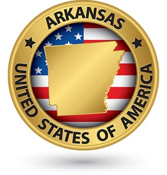 Arkansas state gold label with state map vector image vector image