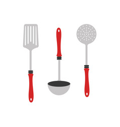 colorful silhouette utensils kitchen icon design vector image