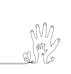 continuous line drawing baby child parent hand vector image