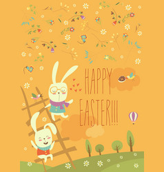 Funny easter bunnies with ladder vector