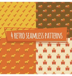 Kids retro seamless patterns with rockets and car vector image vector image