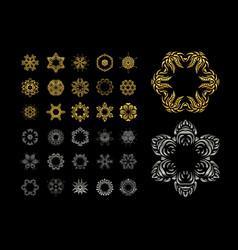 ornamental lace pattern set gold silver mandala vector image