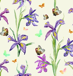 seamless texture watercolor spring flowers iris vector image