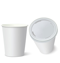 White Paper Cups isolated on white vector image vector image