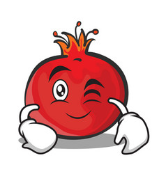 wink face pomegranate cartoon character style vector image vector image