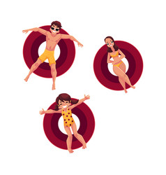 caucasian woman man and little girl floating on vector image vector image
