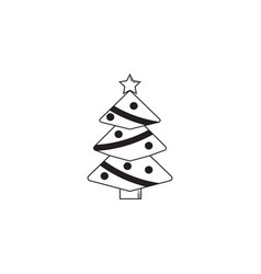 christmas tree solid icon decorations with star vector image