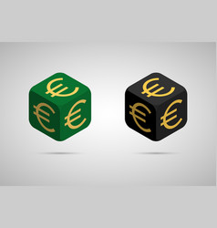 euro green and black euro cube vector image vector image