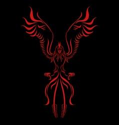 phoenix flame bird silhouette vector image vector image