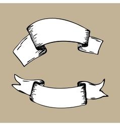 Vintage ribbon banners hand drawn set Menu vector image vector image
