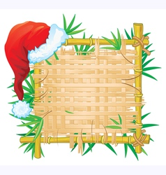 bamboo frame with santa hat vector image vector image