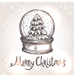 Christmas Card With Sketch Snowglobe vector image