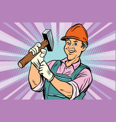 construction worker with hammer vector image vector image