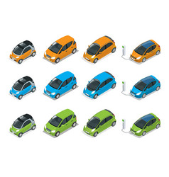 isometric hybrid electric and mini cars city vector image vector image