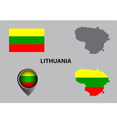 Map of Lithuania and symbol vector image vector image