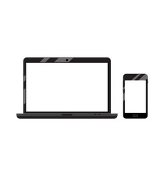 phone and laptop devices with blank screens vector image vector image