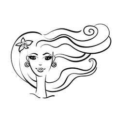beautiful girl linear silhouette vector image
