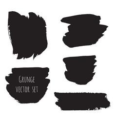 Dark black grunge watercolor ink texture set vector