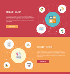 flat icons duty profit act and other vector image