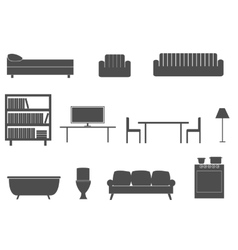 Furniture silhouette icons vector image