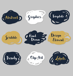 golden navy blue and white scribble labels set vector image vector image