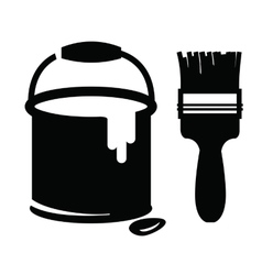 Paint and brush vector
