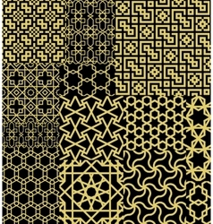 Set Twelve Gold Seamless patterns in Moroccan vector image