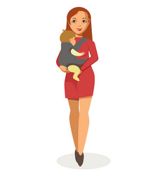 Young mother walks with baby carrier isolated vector