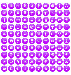 100 disaster icons set purple vector