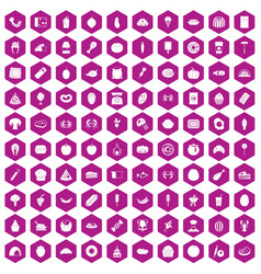 100 favorite food icons hexagon violet vector image