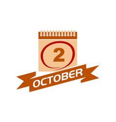 2 october calendar with ribbon vector