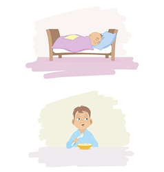 A child sleeping and eating vector