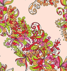 Abstract hand-drawn wave floral pattern vector image