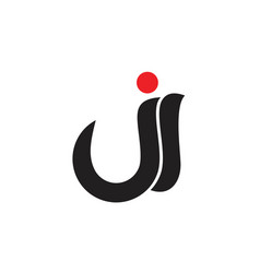 abstract letters ji curves logo vector image