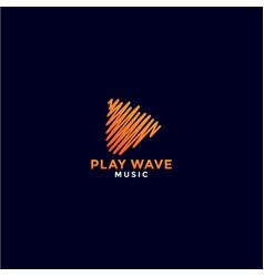 Abstract orange play music logo design vector