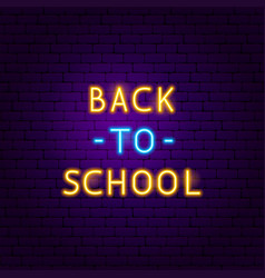 back to school text neon label vector image