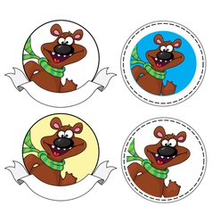 bear head banner vector image