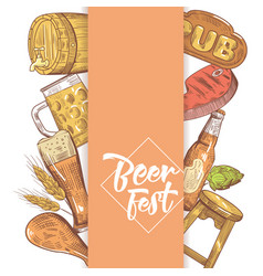 beer festival hand drawn menu poster vector image