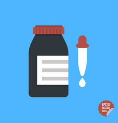 Bottle with dropper icon flat design style vector