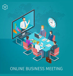 Business conference online banner vector